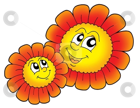Pair of smilling red flowers stock photo, Pair of smiling red flowers - color illustration. by Klara Viskova