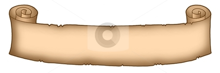 Parchment long 2 stock photo, Color illustration of long parchment. by Klara Viskova