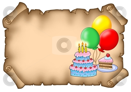 Parchment party invitation with cakes stock photo, Parchment party invitation with cakes - color illustration. by Klara Viskova