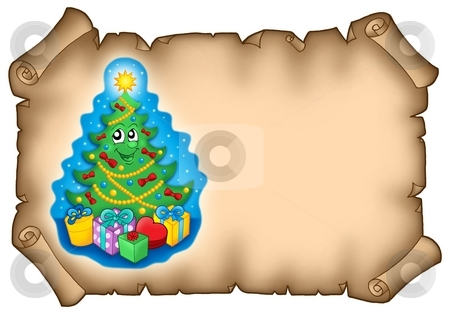 Parchment with Christmas tree stock photo, Parchment with Christmas tree - color illustration. by Klara Viskova