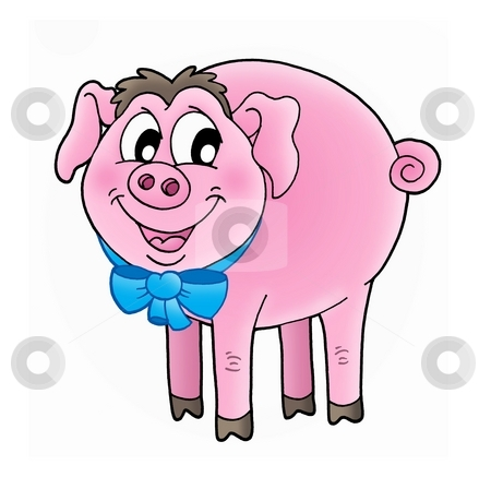 Pig stock photo, Color illustration of pink pig. by Klara Viskova