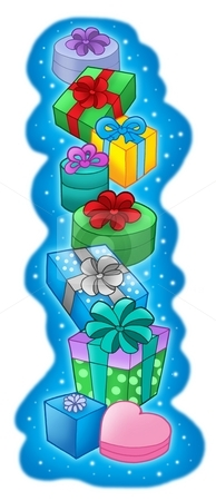 Pile of Christmas gifts on blue background stock photo, Pile of Christmas gifts on blue background -color illustration. by Klara Viskova