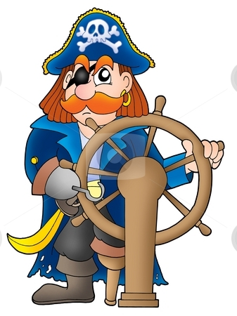 Pirate captain stock photo, Pirate captain on white background - color illustration. by Klara Viskova