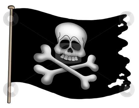 Pirate flag stock photo, Pirate flag on white background - color illustration. by Klara Viskova