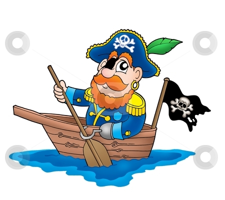 Pirate in the boat stock photo, Pirate in the boat - color illustration. by Klara Viskova