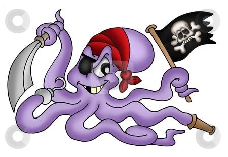 Pirate octopus stock photo, Color illustration of pirate octopus. by Klara Viskova