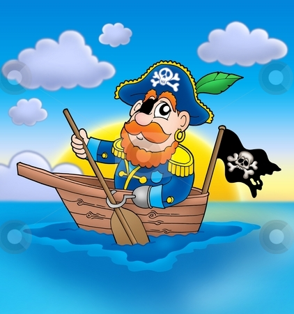Pirate on boat with sunset stock photo, Pirate on boat with sunset - color illustration. by Klara Viskova