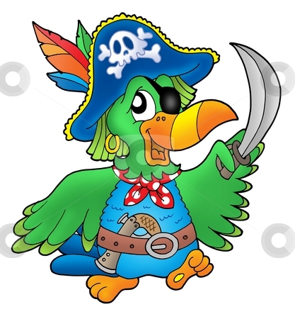 Pirate parrot stock photo, Pirate parrot on white background - color illustration. by Klara Viskova