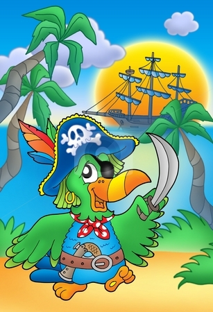 Pirate parrot with boat stock photo, Pirate parrot with boat - color illustration. by Klara Viskova