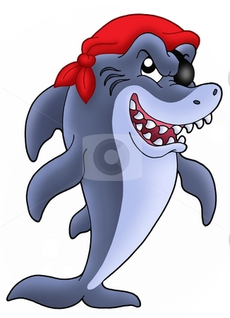 Pirate shark stock photo, Blue pirate shark - color illustration. by Klara Viskova