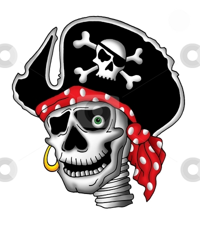 Pirate skull in hat stock photo, Color illustration of pirate skull in hat. by Klara Viskova