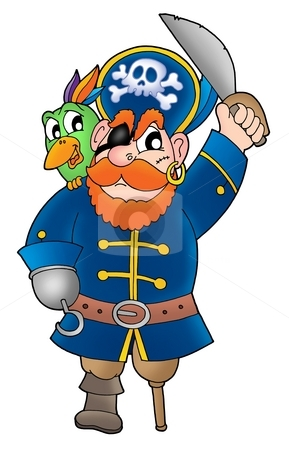 Pirate with parrot 2 stock photo, Pirate with parrot - color illustration. by Klara Viskova