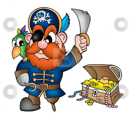 Pirate with treasure chest stock photo, Pirate with treasure chest - color illustration. by Klara Viskova