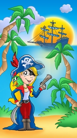 Pirate woman with parrot and boat stock photo, Pirate woman with parrot and boat - color illustration. by Klara Viskova