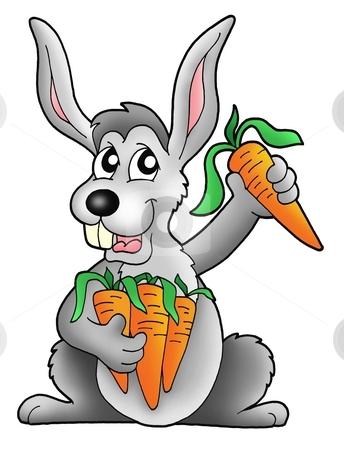 Rabbit with carrot stock photo, Color illustration of rabbit holding carrot. by Klara Viskova
