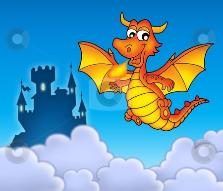 Red dragon with castle stock photo, Red dragon with castle - color illustration. by Klara Viskova