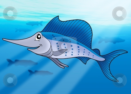 Sailfish in sea stock photo, Sailfish in sea - color illustration. by Klara Viskova
