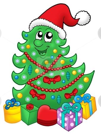 Santa xmas tree with gifts stock photo, Santa xmas tree with gifts - color illustration. by Klara Viskova