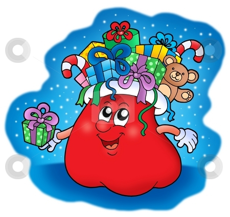 Santas bag with gifts stock photo, Santas bag with gifts - color illustation. by Klara Viskova