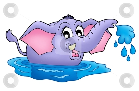 Small elephant in water stock photo, Color illustration of small elephant in water. by Klara Viskova