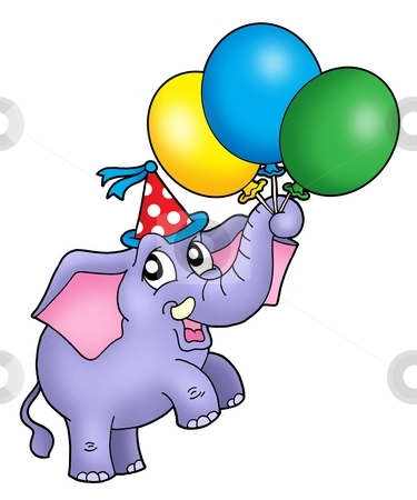 Small elephant with balloons stock photo, Small elephant with balloons - color illustration. by Klara Viskova