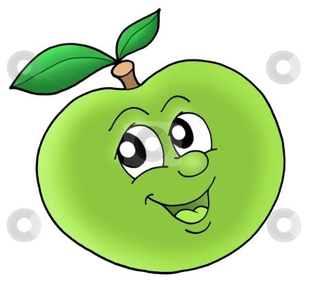 Smiling green apple stock photo, Smiling green apple - color illustration. by Klara Viskova