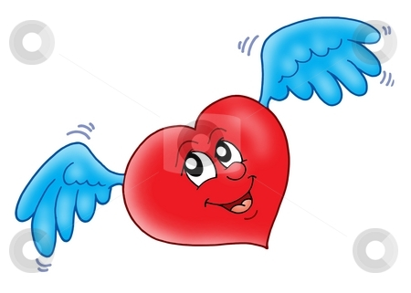 Smiling heart with wings stock photo, Smiling heart with wings - color illustration. by Klara Viskova