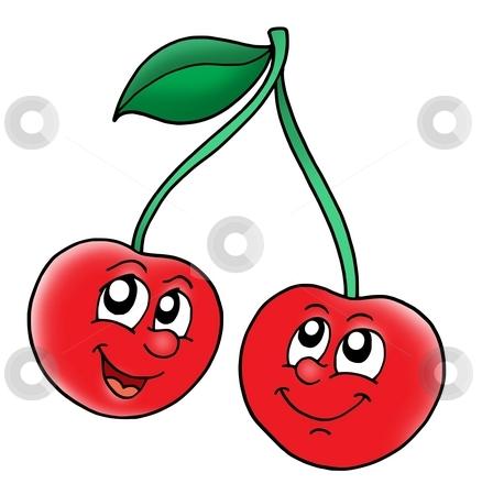 Smiling red cherries stock photo, Smiling red cherries - color illustration. by Klara Viskova