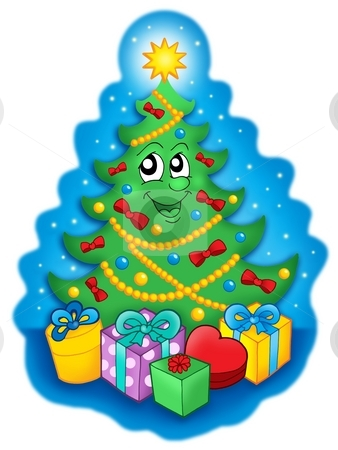 Smiling Christmas tree with gifts on blue sky stock photo, Smiling Christmas tree with gifts on blue sky - color illustration. by Klara Viskova