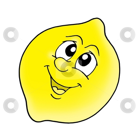 Smiling lemon stock photo, Smiling yellow lemon - color illustration. by Klara Viskova