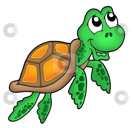 Smiling little sea turtle stock photo, Smiling little sea turtle - color illustration. by Klara Viskova