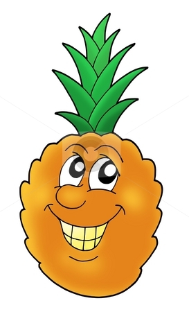 Smiling pineapple stock photo, Smiling orange pineapple - color illustration. by Klara Viskova