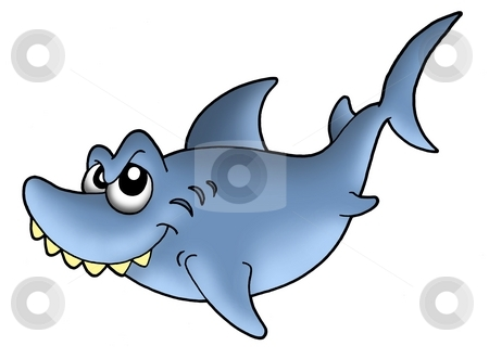 Smiling shark stock photo, Blue smiling shark - color illustration. by Klara Viskova