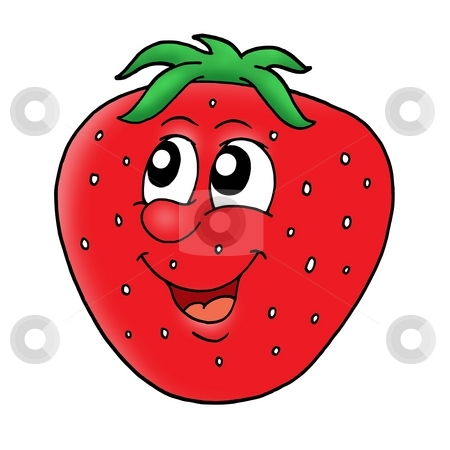 Smiling strawberry stock photo, Smiling red strawberry - color illustration. by Klara Viskova