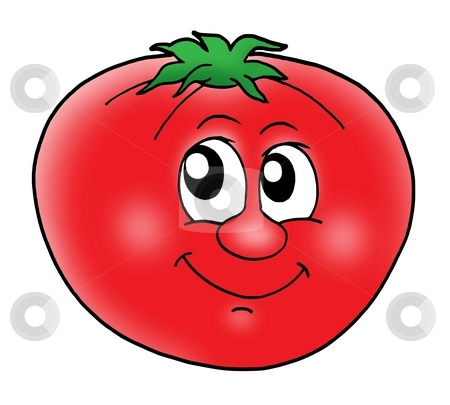 Smiling tomato stock photo, Smiling red tomato - color illustration. by Klara Viskova