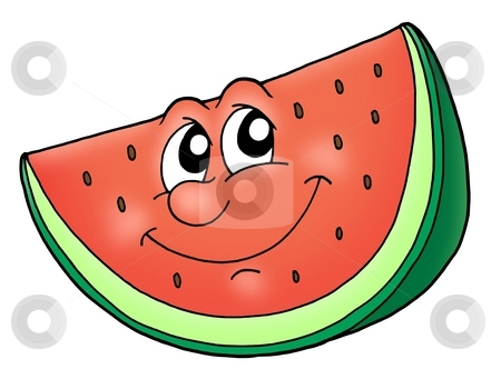 Smile watermelon stock photo, Slice of watermelon - color illustration. by Klara Viskova