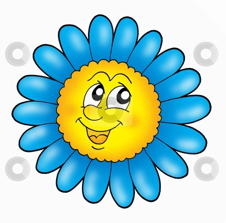 Smiling flower stock photo, Smiling flower on white background - color illustration. by Klara Viskova