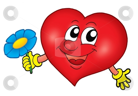Smiling heart with flower stock photo, Smiling heart with flower - color illustration. by Klara Viskova