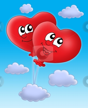 Smilling hearts balloons on blue sky stock photo, Color illustration of two heart ballons on blue sky. by Klara Viskova