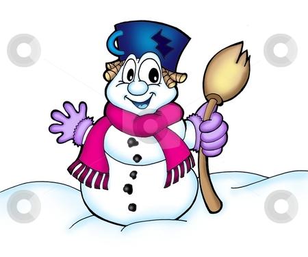 Snowman stock photo, Color illustration of snowman with scarf.. by Klara Viskova