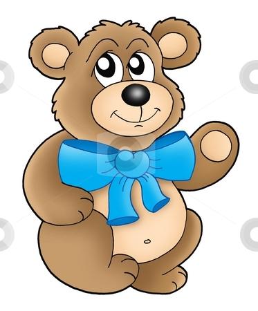 Teddy bear stock photo, Brown teddy bear - color illustration. by Klara Viskova