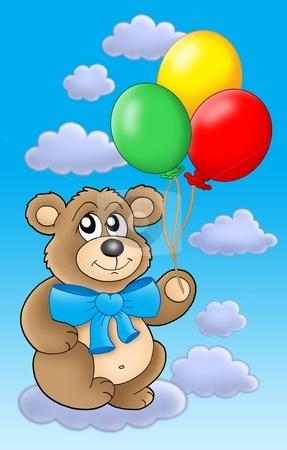 Teddy bear with color balloons on blue sky. stock photo, Teddy bear with color balloons on blue skye - color illustration. by Klara Viskova