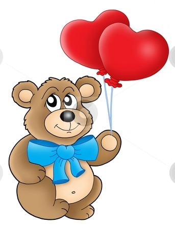 Teddy bear with heart balloons stock photo, Teddy bear with heart balloons - color illustration. by Klara Viskova