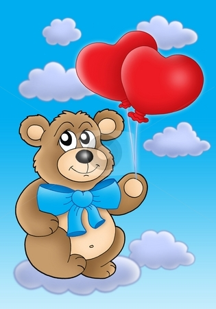 Teddy bear with heart balloons on blue sky stock photo, Teddy bear with heart balloons on blue sky - color illustration. by Klara Viskova