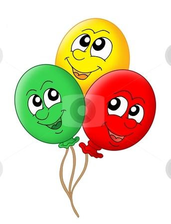 Three balloons stock photo, Color illustration of three balloons. by Klara Viskova