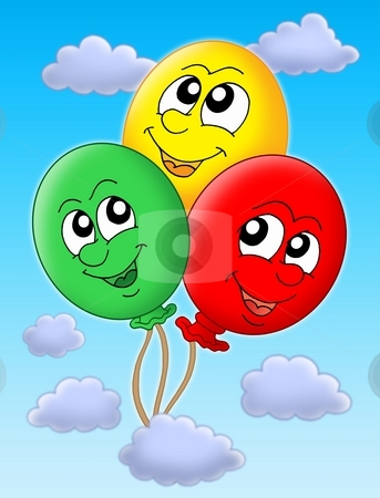 Three balloons on blue sky stock photo, Color illustration of three balloons on blue sky.. by Klara Viskova