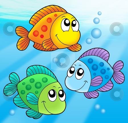 Three cute fishes stock photo, Three cute fishes - vector illustration. by Klara Viskova