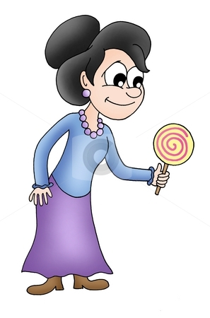 Women with lollipop stock photo, Women with lollipop - color illustration. by Klara Viskova
