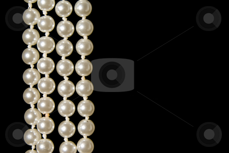 Pearls stock photo, A hanging string of beautiful oyster pearls. by Robert Byron