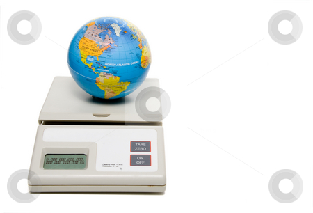 Weight of the World stock photo, The weight of the world being weighed on a scale. by Robert Byron
